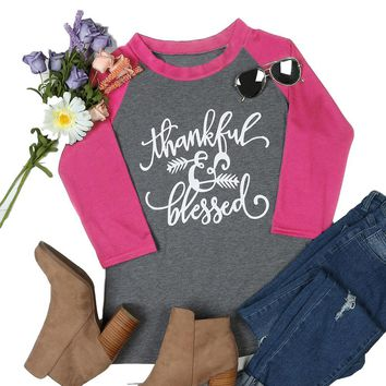 Women's Pink/Gray Thankful and Blessed Raglan Sleeve Baseball T-Shirt Top