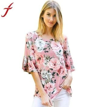 ONETOW Flare Flower Printed Three Quarter Sleeve Casual O-Neck Pink Tops Tee