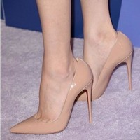 women pumps12cm women high heels ol pointed toe thin heels pumps red sole nude pumps fashion sexy candy color high heel shoes [7861998919]