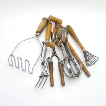Vintage  6 pc Lot of Kitchen Utensils, Wood Handles, Potato Masher, Whisk, Carving Fork, Curling Iron, Spoon and Beater, circa 1920s-1940s