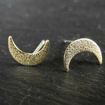 Sparkly Crescent Moon Earrings, Golden Brass Earrings, Moon Phase Lunar Jewelry, Hammered Brass Studs, Sterling Silver Hypoallergenic