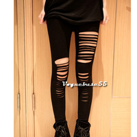 New Sexy Ripped Torn Slashed Leggings Punk Low Rise Black Stretch Tights VE4A