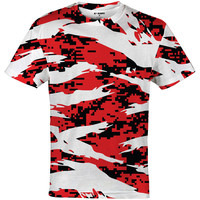 Digital ripped red / black / white camo jersey