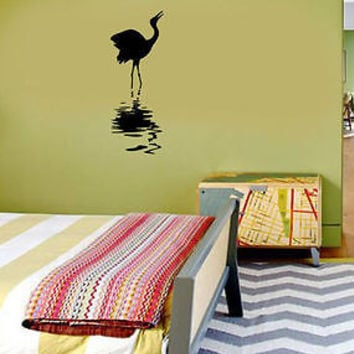 Crane Heron Stork on Water DESIGN WALL Decor VINYL STICKER DECAL ART MURAL EN67