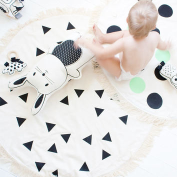 Pre Order - Play Mat Black Triangles Hand Printed Floor Mat Rug Nursery Decor