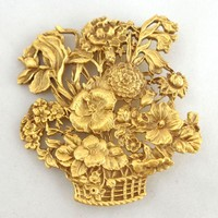 Vintage Exquisite Museum of Fine Arts MFA Flower Basket Pin