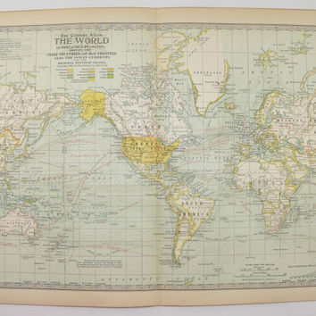 Vintage World Map on Mercators Projection 1901 Antique Map, Old World Decor, Christmas Gift for Couple, Vintage Wall Art World Traveler Gift
