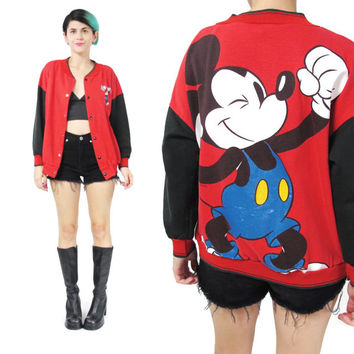 90s Mickey Mouse Jacket Baseball Varsity Jacket Black and Red Jacket Snap Front Cropped Jacket Fall Cotton Jacket Screen Printed Kids (XS/S)