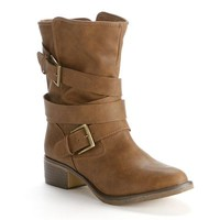 Candie's Brown Midcalf Moto Boots - Women