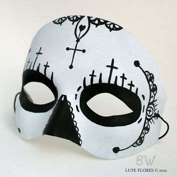 Black Cross Sugar Skull Day of the Dead Hand painted Mask by Lupe Flores