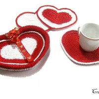Crochet heart coasters with basket, Set of 4 coasters, Small doilies, Sottobicchieri cuori (Cod. 98)