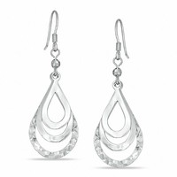 Sterling Silver Layered Open Teardrop Earrings|Zales
