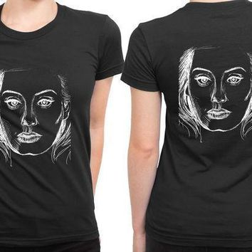 Adele Twenty Five Cover Sketch Black 2 Sided Womens T Shirt