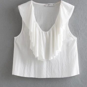 Women's summer new sexy v-neck layered ruffled pullover vest