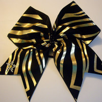 cheer bow black and gold zebra by LeBow1cheerbows on Etsy