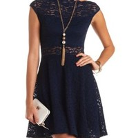 Scalloped Lace Boat Neck Skater Dress by Charlotte Russe - Navy