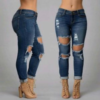 Skinny Ripped Jeans Full Length Pencil Pants