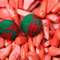 Soft woven red and green Mexican Earrings