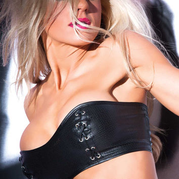 Tempt and Tease Faux Leather Bustier