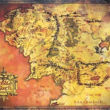 Lord of the Rings Middle Earth Map Poster 24x36