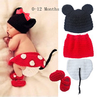 3pcs Newborn Baby Girls Knit Crochet Minnie Mouse Costume Photo Prop Outfit Cute