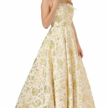 Prom Ball Gown Spaghetti Straps Gold with Pockets
