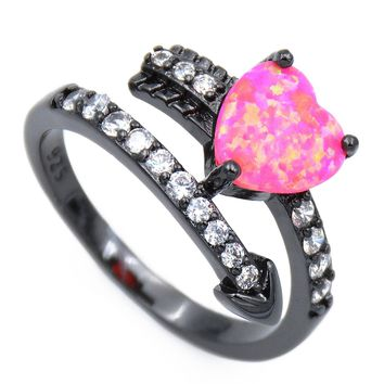 Luxury 10K Black Gold Filled Heart Design Fire Opal Ring