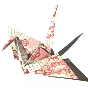 Origami crane 50 gold wedding decor from graceincrease origami sakura blossom pattern origami crane in pink 50 count japanese cranes origami swans mightylinksfo