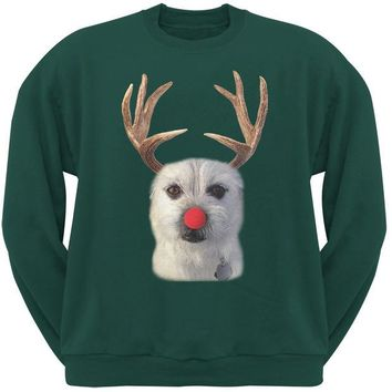 ONETOW Funny Reindeer Dog Ugly Christmas Sweater Forest Green Sweatshirt