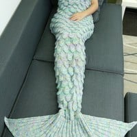 Super Soft Design Knitted Mermaid Tail Blanket