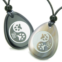 Amulets Wolf Paw Yin Yang Magic Kanji Love Couple Agate Black Agate Pendant Necklaces