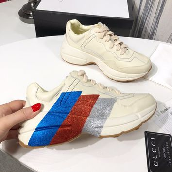 GUCCI Rhyton glitter leather sneaker