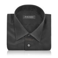 Forzieri Designer Dress Shirts Dramatic Black Pure Silk Dress Shirt