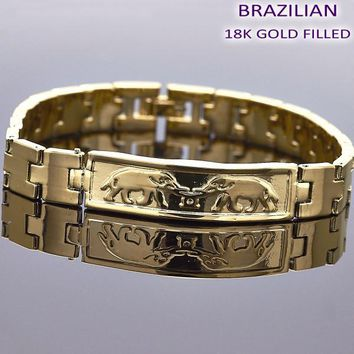 Gold Layered Men Elephant ID Bracelet, by Folks Jewelry