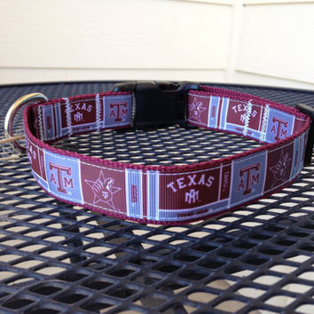 Dog Collar Made from Texas A&M Ribbon by SweetKeeps on Etsy
