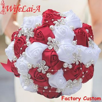 WifeLai-A 1Piece Best Selling Wine Red Artificial Flower Bridal Bouquets Crystal Pearls Bridesmaid Bridal Wedding Bouquets W224