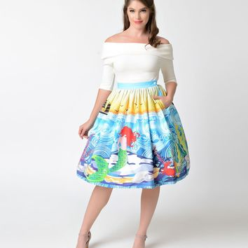 Unique Vintage 1950s Mermaid Daydream High Waist Swing Skirt