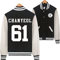 Bluesoul Kpop EXO EXO-M EXO-K Varsity Baseball Jacket (CHANYEOL 61 BLACK, L)