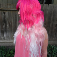 HAPPY HOLIDAYS SALE / Strawberry Dream / Hot Pink Light Pink and White / Long Curly Layered Wig Three Toned Ombre Audrey Kitching