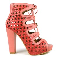 Mark and Maddux Kapono-06 Chunky Heel Platform Bootie in Red @ ippolitan.com