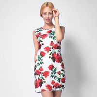 Rose Printed Slim Dress 11120