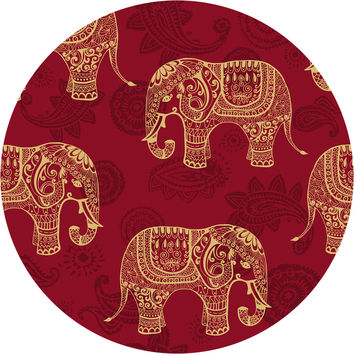 Paisley Elephants Circle Wall Decal