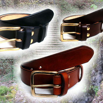 "Men leather belt, 1.5"" wide, solid brass buckle, in black, brown or tan, made to order"