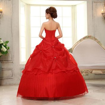 Luxury Lace Embroidery Floral Red Bandage Bride's Wedding Dresses Bridal Gowns