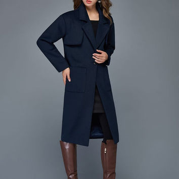 dark blue coat, long coat, classic coat, military coat, long trench coat, casual winter coat C964