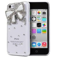 Fosmon GEM Series 3D Bling Design Case for Apple iPhone 5C (Clear Case / White Bow)