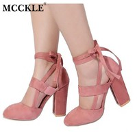 MCCKLE Fashion Female Ankle Strap High Heels Flock Cross Straps Chunky Heel 2017 Women's Wedding Pumps Plus Size Ladies Shoes