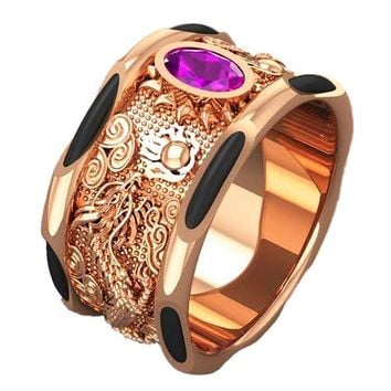 Elephant Hair Rose Gold Dragon Ring Big Amethyst Mens Ring Wide Gold Band Ring Men's Ring Engraved Ring for Man