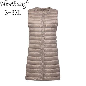 NewBang Brand Women's Long Vest Ultra Light Down Vests Women Female Down Coat Long Slim Sleeveless Without Collar Jacket