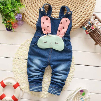 Spring Autumn Winter Children Clothing Kids Babi Baby Vintage rabbit Faux Denim Jeans Blended Overall Long Pants Trousers S1934